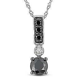14k White Gold 1ct TDW Black and White Diamond Necklace (G-H, I2-I3)