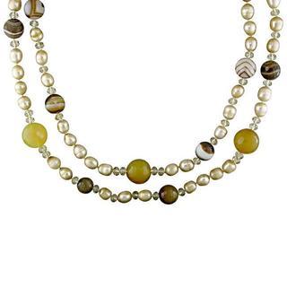 Miadora Pearls Beige FW Pearl and Multi-colored Quartz Necklace (8-9 mm)