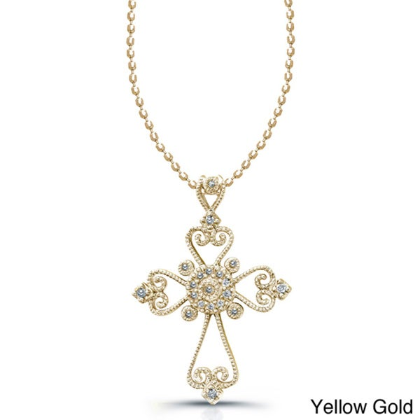 Sterling Silver 1/10ct TDW Diamond Cross Necklace (J, I2-I3)