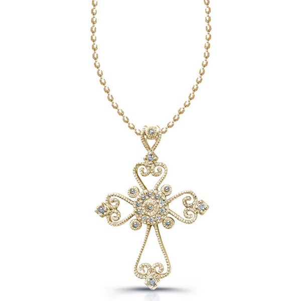Victoria Kay 1/10ct TDW Diamond Cross Necklace