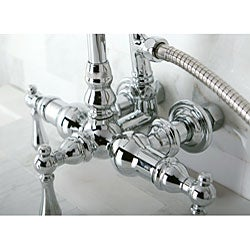 Double-Handle Deck-Mount Chrome Clawfoot Tub Faucet