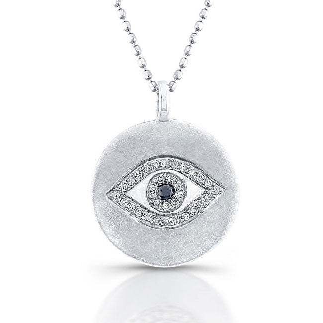 Sterling Silver 1/10ct TDW Black and White Diamond Evil Eye Necklace (J, I2-I3)