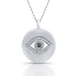 Silver 1/10ct TDW Black and White Diamond Evil Eye Necklace (J, I2-I3)