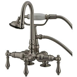 Deck-mount Satin Nickel Clawfoot Tub Faucet with Handheld Shower