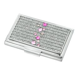 Pink Glitter Gradient Diamond Business Card Holder