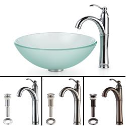 Kraus Bathroom Combo Set Frosted Glass Vessel Sink and Rivera Faucet