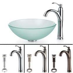 Small Glass Sink : Kraus Bathroom Combo Set Frosted Glass Vessel Sink and Rivera Faucet ...