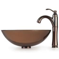 Kraus Bathroom Combo Set Brown Clear Glass Vessel Sink/Rivera Faucet