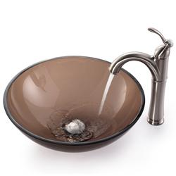 Kraus Bathroom Combo Set Brown Clear Glass Vessel Sink/Rivera Faucet