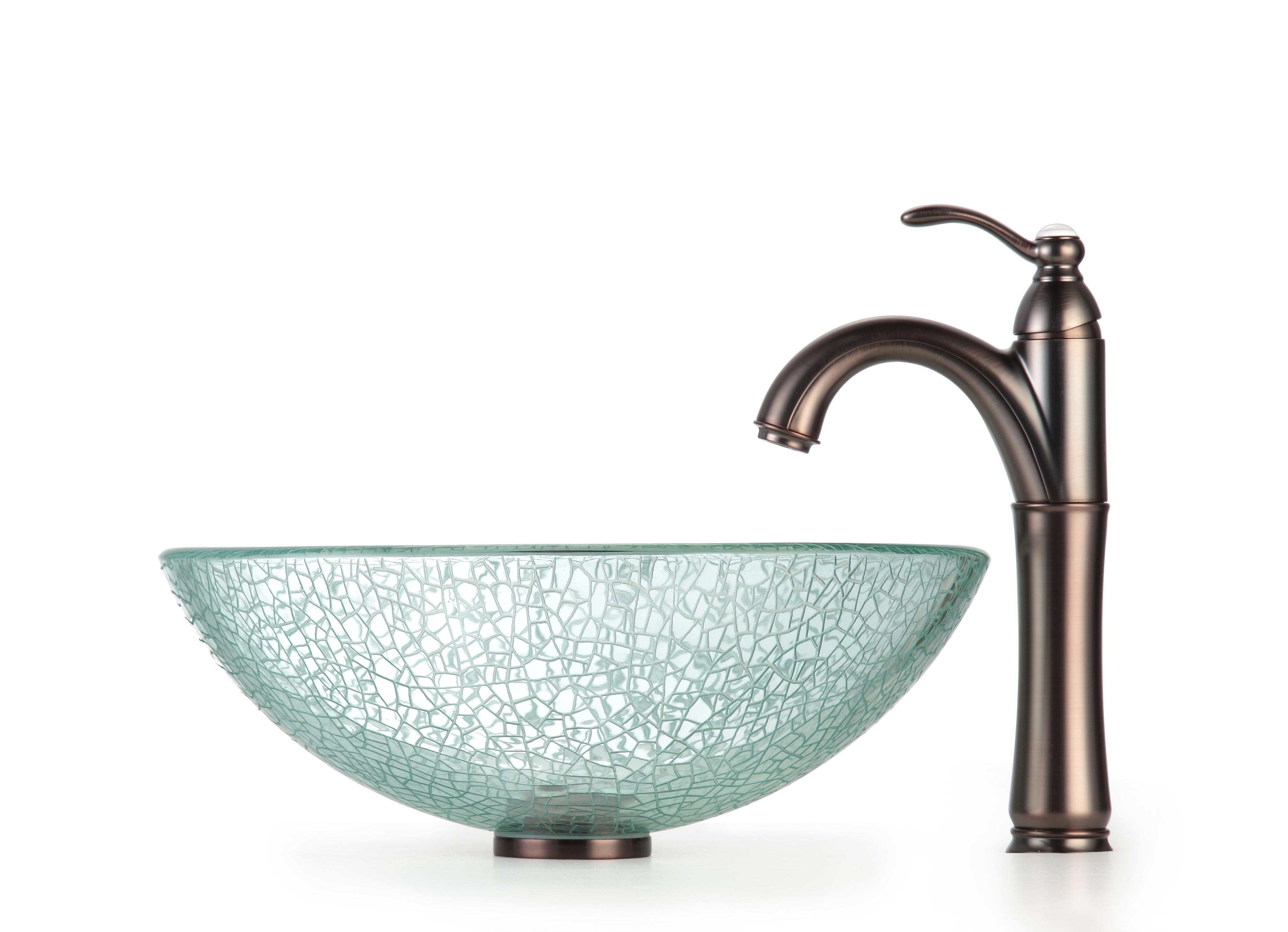 Kraus Bathroom Combo Set Broken Glass Vessel Sink/Rivera Faucet ...