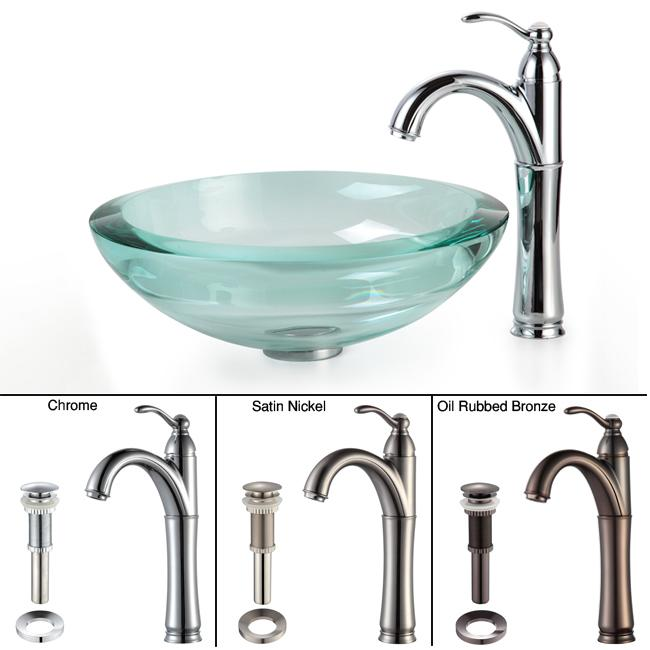 Kraus Bathroom Combo Set Clear 34-mm Glass Vessel Sink/Rivera Faucet
