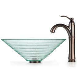 Kraus Alexandrite Clear Glass Vessel Sink and Rivera Bathroom Faucet