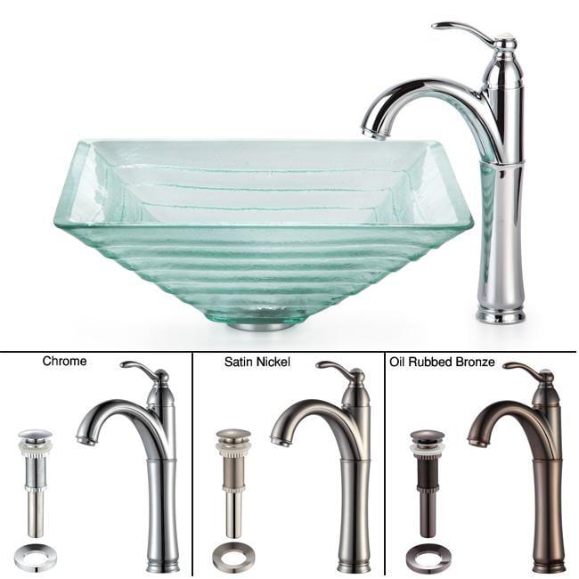 Kraus Bathroom Combo Set Alexandrite Clear Glass Vessel Sink/Faucet