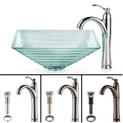 Kraus Bathroom Combo Set Alexandrite Clear Glass Vessel Sink/Faucet