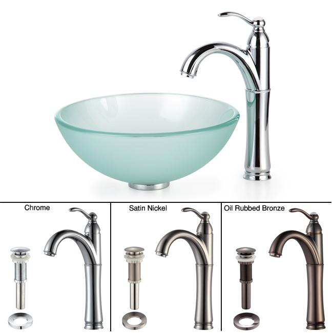 13 Inch Vessel Sink : Kraus Bathroom Combo Set Frosted 14-inch Glass Vessel Sink/Faucet ...