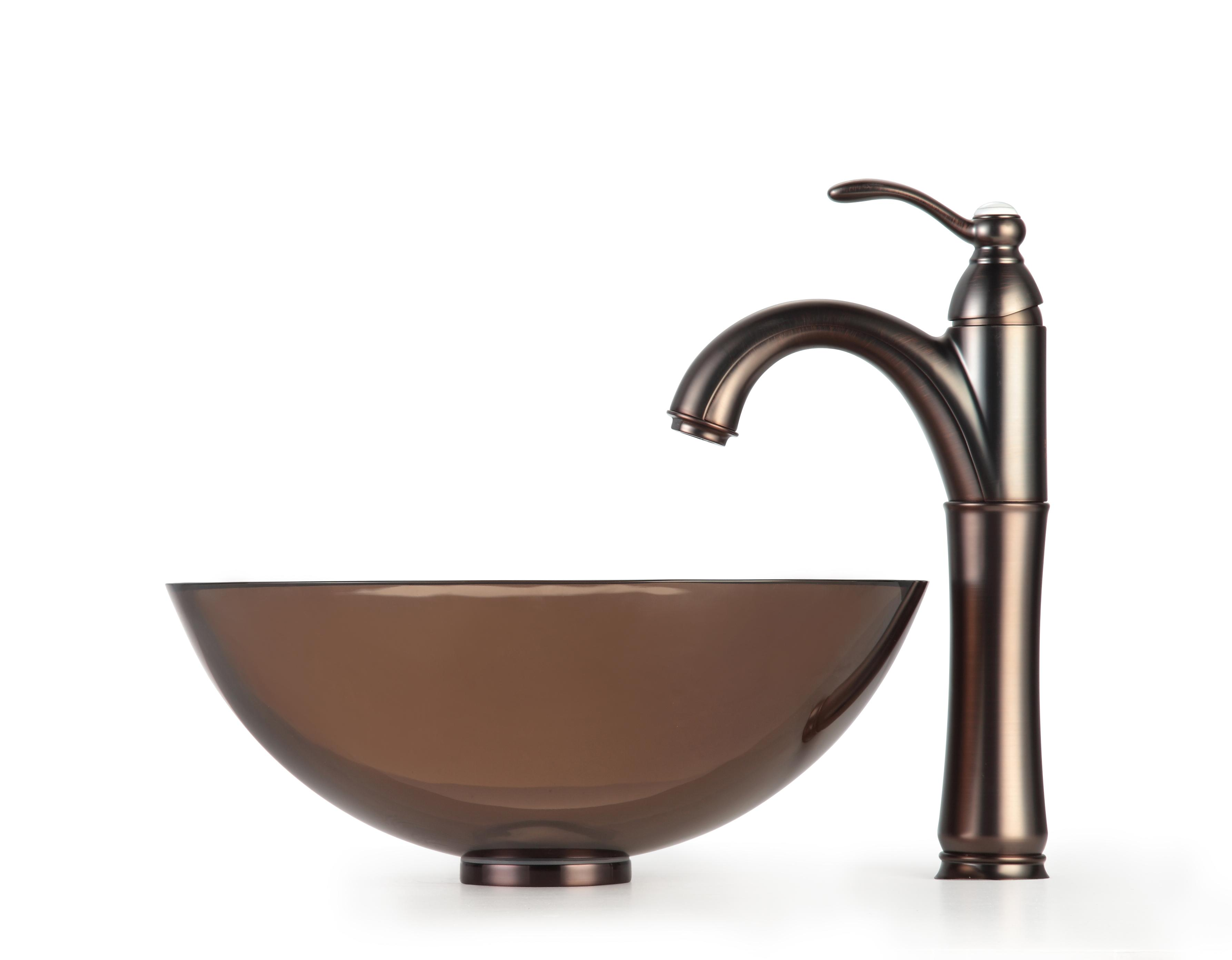 Kraus Brown Clear 14-inch Glass Sink and Rivera Bathroom Faucet