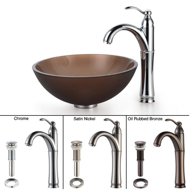 Kraus Bathroom Combo Set Brown Frosted 14-inch Glass Sink/Faucet