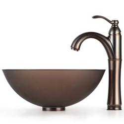 Kraus Brown Frosted 14-inch Glass Sink and Rivera Bathroom Faucet