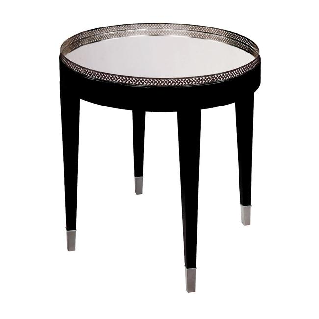 Ebony Finish Mirrored Top Round Accent Table