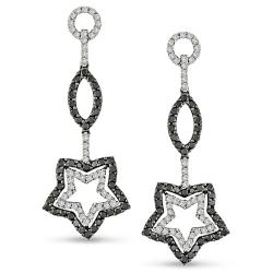 Miadora 18k Gold 2ct TDW Black and White Diamond Star Earrings (G-H, SI1-SI2)