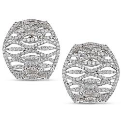 Miadora 18k White Gold 2ct TDW Diamond Earrings (G-H, SI1-SI2)