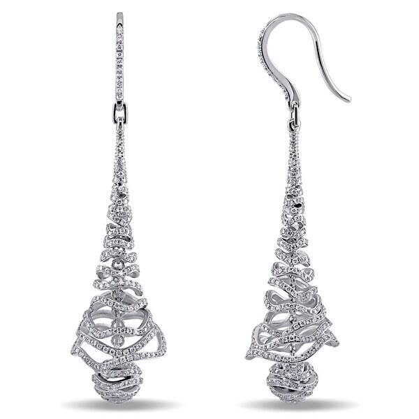 Miadora Signature Collection 18k White Gold 2 1/5ct TDW Diamond Dangle Earrings (G-H, SI1-SI2)