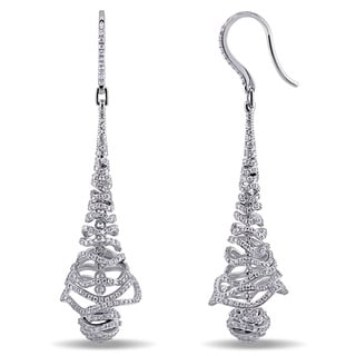 Miadora Signature Collection 18k White Gold 2 1/5ct TDW Diamond Dangle Earrings (G-H, SI1-SI2)