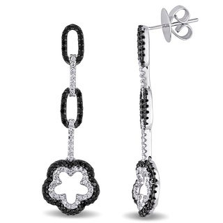 Miadora Signature Collection 18k Gold 1 1/3ct TDW Black and White Diamond Earrings (G-H, SI1-SI2)