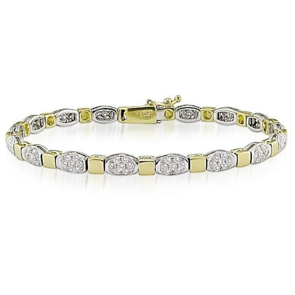 Miadora Signature Collection 18k Two-tone Gold 2 1/2ct TDW Diamond Bracelet (G-H, SI1-SI2)