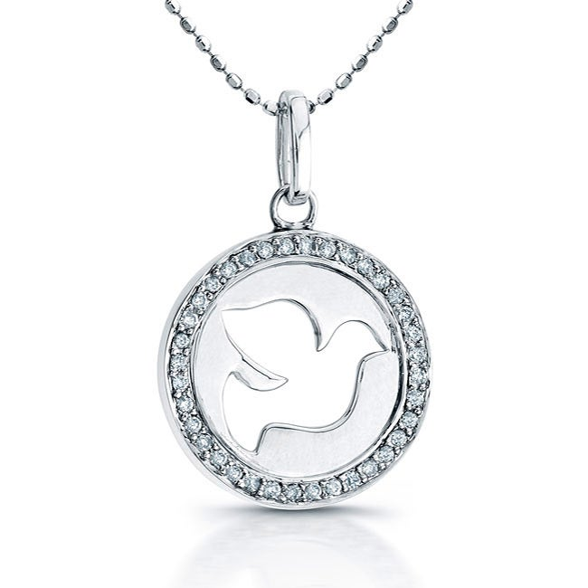 Sterling Silver 1/8ct TDW Diamond Dove Necklace (J, I2-I3)