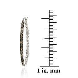 DB Designs Sterling Silver 1/10ct TDW Brown Diamond Hoop Earrings