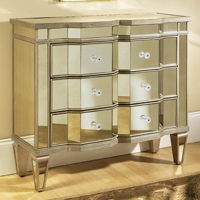 Mirrored three drawer accent chest 13247657 overstock for Stores like horchow