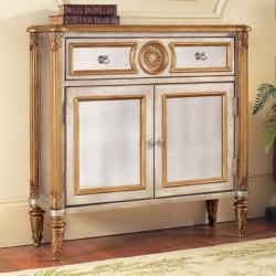 Hand Painted Silver/ Gold Leaf Finish Mirrored Accent Chest