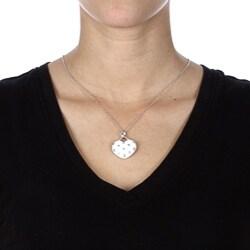 La Preciosa Sterling Silver White Enamel Crystal Heart Necklace