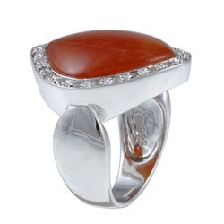 Kabella Sterling Silver Red Jade and White Topaz Ring
