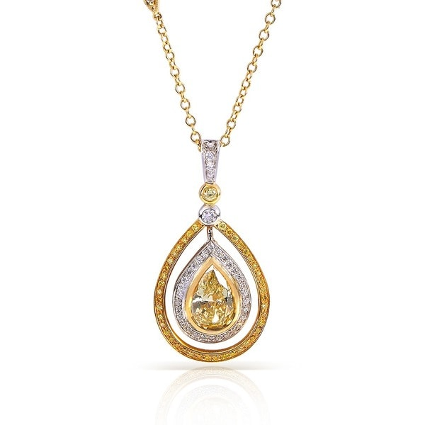 Annello 18k Gold 2 1/6ct TDW Certified Fancy Yellow Diamond Necklace (H-I, SI1-SI2)