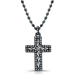 Black Rhodium Silver 1/4ct TDW Diamond Cross Necklace (J, I2-I3)