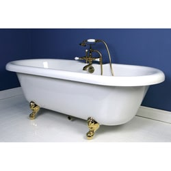 deck mount polished brass clawfoot tub faucet with hand