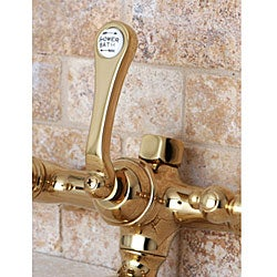 Deck-mount Polished Brass Clawfoot Tub Faucet with Hand Shower