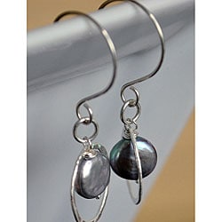 Silver and Grey Pearl Circle Dangle Earrings
