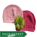 Light or Hot Pink Hat with Green Flower Clip