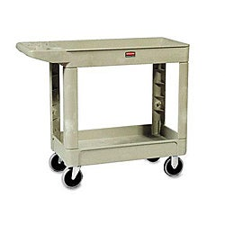 Rubbermaid Beige Commercial Heavy-Duty Two-Shelf Utility Cart