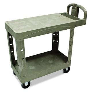 Rubbermaid Commercial Grey Flat Shelf 2-Shelf Utility Cart
