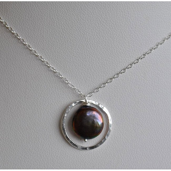 Silver and Peacock Pearl Circle Pendant Necklace