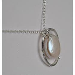 Silver and White Pearl Circle Pendant Necklace