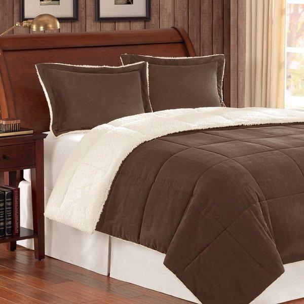 Corduroy/ Berber Fleece Down Alternative 3-piece Comforter Set
