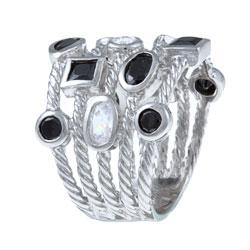 La Preciosa Sterling Silver Black and White Cubic Zirconia 5-strand Cable Ring