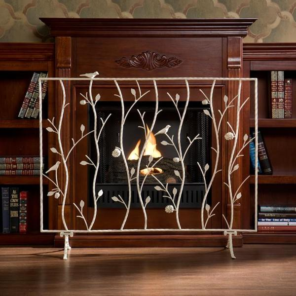 Abbey Antique White Fireplace Screen