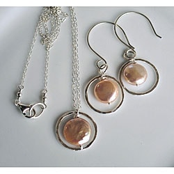 Silver and Peach Pearl Circle Necklace and Earring Set