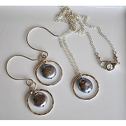 Silver and Grey Coin Pearl Circle Necklace and Earring Set